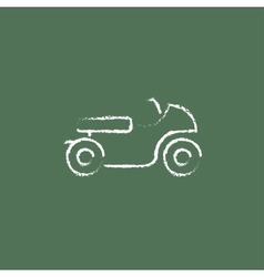 Motorcycle icon drawn in chalk vector