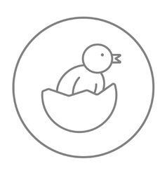 Chick peeking out of egg shell line icon vector