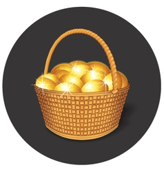 Easter basket with gold eggs vector