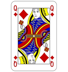 Poker playing card queen diamond vector