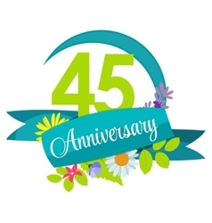 Cute nature flower template 45 years anniversary vector