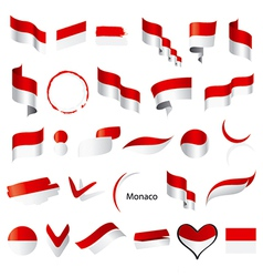 Biggest collection of flags of monaco vector