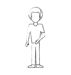 Blurred silhouette caricature faceles body man vector
