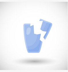 broken drinking glass flat icon vector image vector image