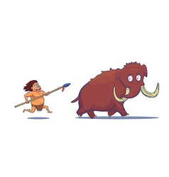 Cartoon caveman with spear hunting mammoth vector
