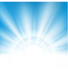 Center sunburst light effect on clean blue sky vector