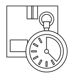 Closed box and stopwatch icon outline style vector image vector image