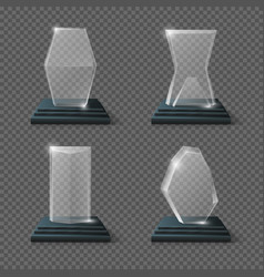 Crystal glass trophy winning business awards vector image vector image