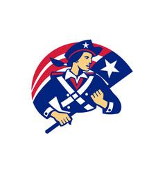Female american minuteman holding flag retro vector