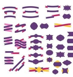 Flat ribbons and badges set vector image