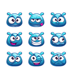 funny cartoon blue jelly monster vector image