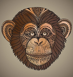 Hand drawn brown of ornate zentagle chimpanz vector