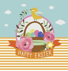 Happy Easter design with little bird vector image