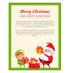 happy new year and merry christmas bright banner vector image