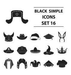 hats set icons in black style big collection hats vector image