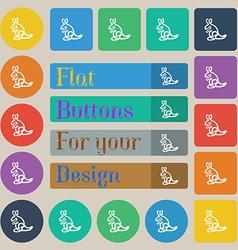 Kangaroo Icon sign Set of twenty colored flat vector image