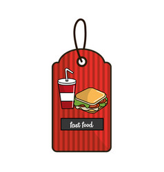 Label fast food sandwich and soda icon vector