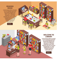 library isometric horizontal banners vector image vector image
