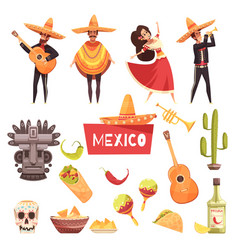 mexico decorative icons set vector image vector image