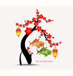 mid autumn festival blossom tree and carp vector image