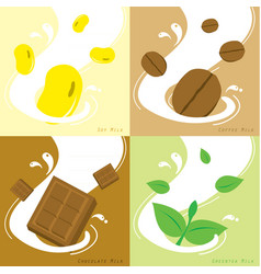 Milk flavor soy coffee chocolate greentea vector