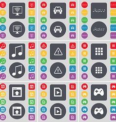 Monitor car notes warning apps window media file vector