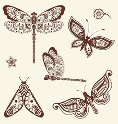Of mehndi ornament - butterflies vector