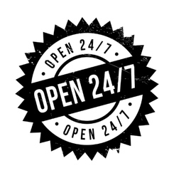 Open 24 7 stamp vector image