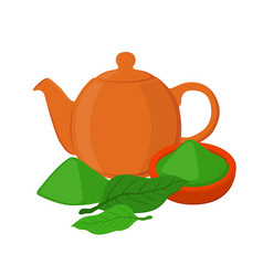 Powder leaves of asian tea teapot teakettle vector