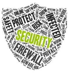 Security word cloud in a shape of shield vector image vector image