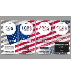 Set of modern gift voucher templates Presidents vector image