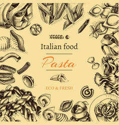 sketch - pasta card italian vector image