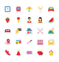 summer and holidays icons 14 vector image