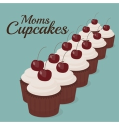 Sweet cupcakes with text vector image