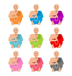 Tibetan monk set Buddhist Tibet in colorful robes vector image