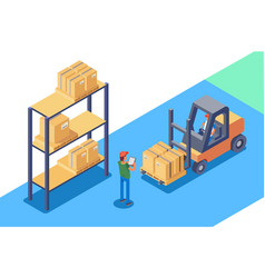 warehouse for storage and distribution of cargo vector image