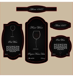 wine labels black and red wineglass vector image