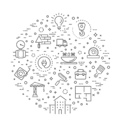 Outline web icons set - construction home repair vector image