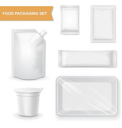 Blank white packaging realistic set for snack food vector