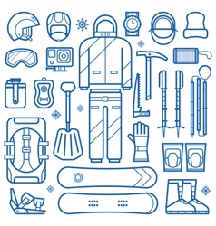 Snowboard equipment line icons vector