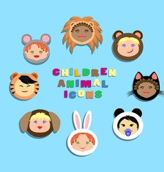 Funny icon children in animal costumes vector