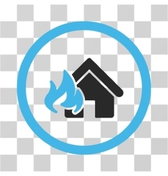 Realty fire damage flat rounded icon vector