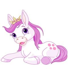 Cute horse princess resting vector image