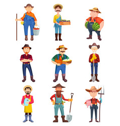 Farmers with hen and pig gardener with shovel vector