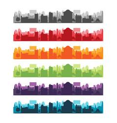 Cities silhouette landscape color set vector