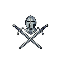 helmet and crossed swords vector image