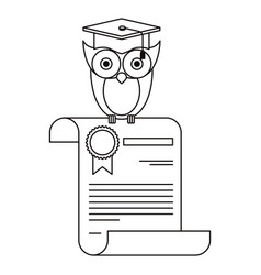 sketch silhouette owl knowledge in certificate vector image