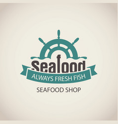 Banner for seafood with ship helm wave and words vector