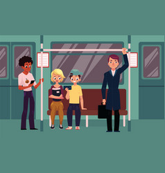 People in subway train car sitting standing and vector