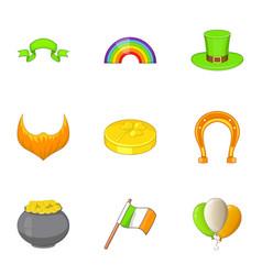 irish icons set cartoon style vector image